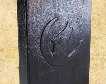 Wolf in Crescent Moon - Dark Brown Blank Leather Journal or Sketchbook