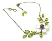 Purple and Green Flower Necklace  with earrings