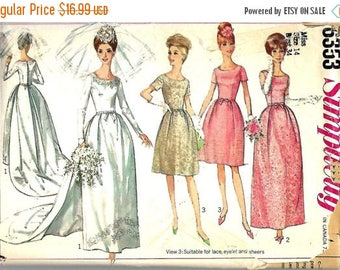 ON SALE Simplicity 6353, 1960s Wedding Dress, Bridesmaid Dress or Evening Dress Sewing Pattern, Size 14, Bust 34