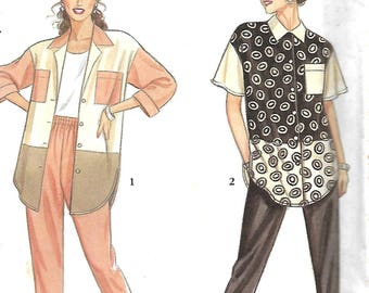 Simplicity 7769 It's So Easy Pattern, Misses Color Blocked Shirt And Slim Pull On Pants Pattern, Size PT-XL, UNCUT