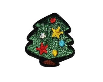 ID 8221 Lot of 3 Christmas Mini Tree Holiday Embroidered Iron On Applique Patch