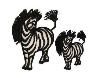 ID 0628AB Set of 2 Wild Zebra Patches Africa Safari Embroidered Iron On Applique
