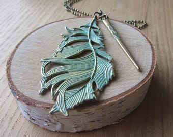 Patina Leaf and Etched Baton Necklace/Bronze Patina Leaf Necklace/Women's Patina Leaf Necklace