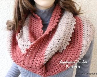 Crochet Scarf PATTERN Infinity Scarf Crochet Puff Stitch