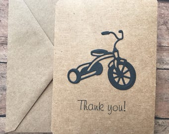 Tricycle Thank You Cards, Handmade Thank You Cards, Trike, TrikeThank You Set, Thank You Set, Bike Thank You Cards, Stationery