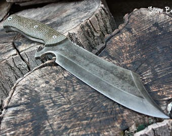 "Handcrafted blade FOF ""Stone Boar"" full tang modern bowie knife"