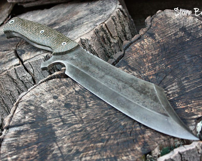 """Handcrafted blade FOF """"Stone Boar"""" full tang modern bowie knife"""