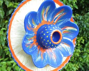 hawaiian holiday glass garden art hand painted yellow blue cobalt orange garden - Orange Garden Decor