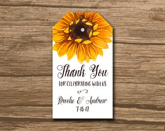 Rustic Wedding Favor Tag, Wedding Thank You Tag, Hang Tag, Favor Tag - PRINTABLE file - country, barn, watercolor sunflower - Brooke