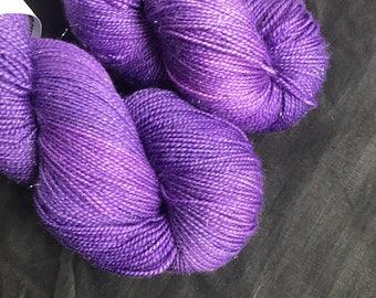 Royal purple hand dyed sparkly sock yarn