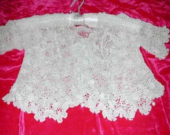 No. 100 Antique Cotton Irish Lace Little Girl Jacket; unused and washed