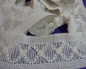 """No. 100 Art Deco, Unusual Antique Hand Embroidered Insertion Lace; 2 Pcs; 2 Yds and 6""""; 1 Yd and 7"""" x 3"""""""