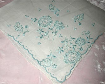 No. 200 ANTIQUE Swiss Cotton Hand Embroidered Handkerchief, Blue Embroidery No. 53