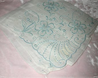 No. 200 ANTIQUE Swiss Cotton Hand Embroidered Handkerchief, Blue Embroidery No. 52