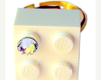 ON SALE White LEGO (R) brick 2x2 with a Diamond color Swarovski crystal on a Silver/Gold plated adjustable ring finding