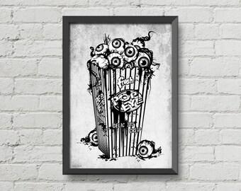 eyeball popcorn,digital print,skulls,illustration,black and white,creepy,horror poster,gothic,wall decor,wall art,home decor,gothic poster