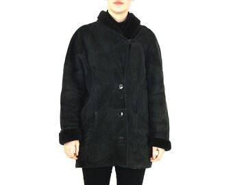 Black Suede Coat Women // Black Shearling Lined Coat // 90s Minimalist Coat // 90s Black Suede Coat // Suede Shearling Coat Women