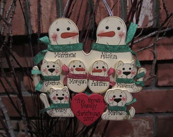 8 Family Members:  Personalized Snowman & Pet Ornament