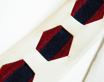 1970s Disco Hexagon Belt in White Leather and Suede / Gold Buckle 70s Belt / Navy and Burgundy Suede Hexagon Belt / 33 to 37