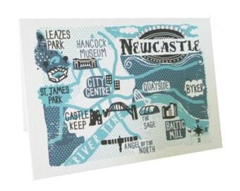 Newcastle Upon Tyne map greetings card