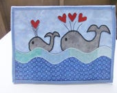 Summer Mini Quilt, Whale Mug Rug, Baby Whale large coaster, Birthday Gift for Her, Grandmother Gift, Fun gifts, gift ideas, MADE TO ORDER