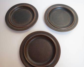 Arabia Ruska salad plates, scandinavian design, mid century design, brown salad plates, retro kitchen items