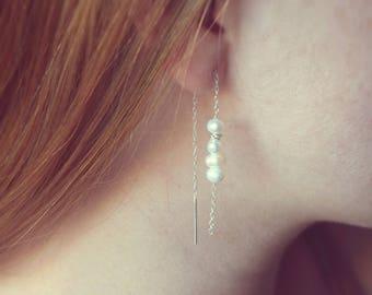 Pearl earrings, Bridesmaids earrings, Sterling silver pearl earrings, Pearl threaders, Chain earrings, June birthstone earrings