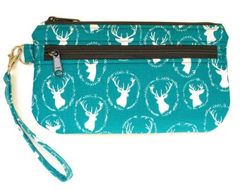 Teal Deer Fabric Wristlet Purse - Cell phone purse  - Small purse - Cell Phone pouch -