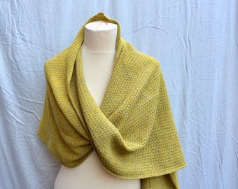 Mustard Yellow  Textured Knit Exta Large Scarf .Travel Wrap. You are my sunshine gift for Grandmother. Fahionable  Mothers Day Gift