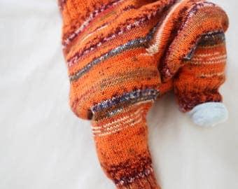 Colorful Baby pants, knit baby leggings, baby clothing, orange newborn pants