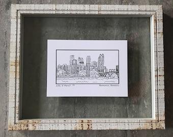 Minneapolis Minnesota Skyline - Elle Karel Illustration