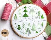 Beginner Embroidery Pattern, Forest, Scandinavian Modern, Folk Art Pattern, Stitch Sampler, Pine Trees, Woodland, Modern Embroidery Pattern
