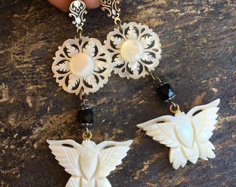 MOP Mother Pearl Butterfly Shell Earrings, Vintage 1930 1940 Bridal Woodland Goddess  Bridal Wedding Assemblage Jewelry