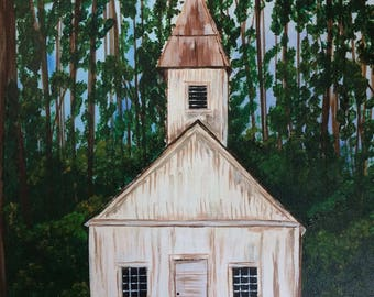 Forget-Me-Not Chapel in the Woods 11x14 Acrylic Painting