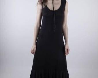 Organic Cotton Terry Mermaid Hem Gown - Sleeveless Maxi Dress - Floor Length Dress - Size Medium