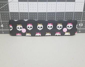 DPN holder, knitting needle case, DPN case, double pointed needle holder, knitting needle cozy, skull DPN holder