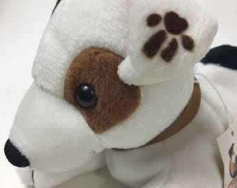 Wishbone Plush Stuffed Dog Animal Toy Beanbag Jack Russell Terrier Television TV Show Denny's Promo Vintage PBS Kids White Brown Tag