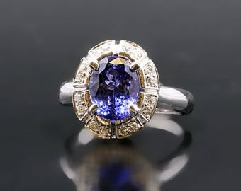 14 Kt, White Gold, Oval, Tanzanite,  Diamond, Vintage, Ring