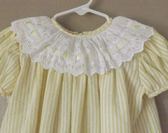 Vintage Baby Dress Size 24 Months Yellow Seersucker Eyelet Trim, Classic Kids Clothes, Judy Lyn Dresses, Vintage Baby