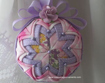 Quilted Christmas Ornament Ball, Purple and Pink, Summer Ornament, Fabric Ornament, Christmas Ball
