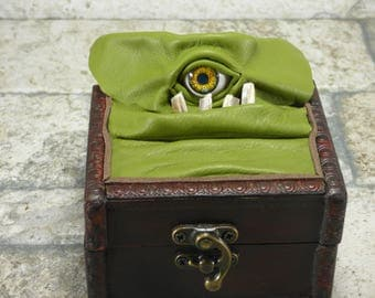 Desk Organizer Trinket Mimic Box Small Storage Treasure Chest Stash Green Leather Harry Potter Labyrinth