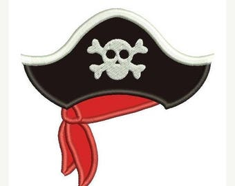 25% OFF Pirate Hat Applique Embroidery Design - Instant Download
