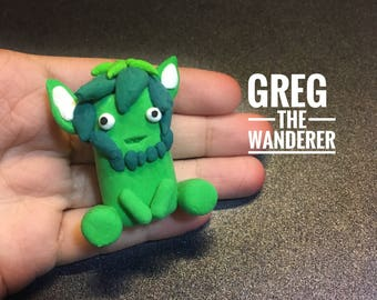 Greg the Wanderer, Chummster, Cute Monster, Green, nature lover, Fantasy Creature, Home Decor, Nursery decor, Creature, Figurine, Sculpture