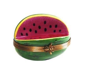 Limoges Watermelon Trinket Box Vintage Rochard Porcelain Box Fruit Figurine Miniature Collectibles
