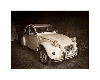 Deux Chevaux Car, 2CV, French Car, Black and White, France, Classic Car