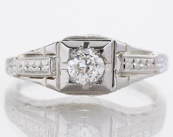 "Antique Engagement Ring - Antique ""1934"" 18k White Gold Diamond Engagement Ring"