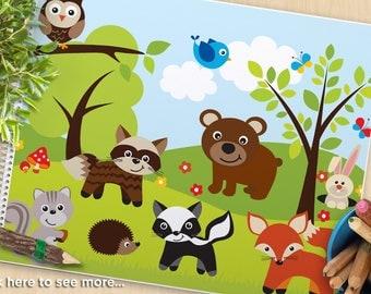 Woodland, Forest Animals clipart, fox, raccoon, bear, bunny rabbit, skunk, squirrel, owl, hedgehog, Commercial Use, Vector Clipart, SVG Cut