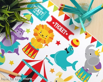 Circus Animals Clipart, Carnival, Big Top, elephant, seal, monkey, hippo, bunny, lion, magic trick, Commercial use, vector clipart, SVG Cut