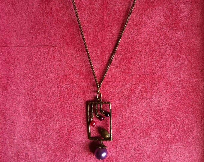 Brass window 013 purple bird chain necklace