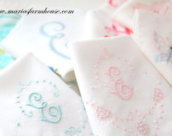 "HANDKERCHIEF, Vintage Script Monogram, Embroidered Ladies' Handkerchief, Letter ""E"", Bride to Be, Bridal Shower Gift Inspiration"